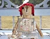 "Primitive Grungy Olde Thyme Raggedy Annie Doll  Worn Torn Rag Doll ""Meg"" Vintage Hankie PrimsGoneWild"