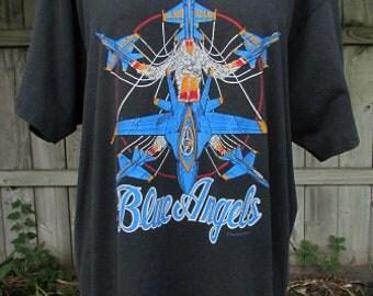 vintage 80s blue angels tee shirt us navy flight team squadron airplane  made in usa
