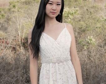 AMARA - Beaded Crystal Rhinestone and Pearl Bridal Sash, Wedding Belt