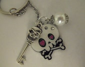 Key Ring,  Gothic Sugar Skull Glitter Key Chain White  Womens Gift Handmade