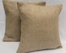 Set of 2 26x26 or 28x28 Burlap Euro Shams Completely Lined Burlap Pillow Covers