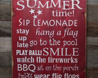 Large Wood Sign - It's Summer Time - Subway Sign