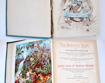 Antique 1889 Book Beautiful Story Golden Gems Religious Thought