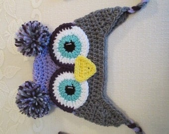 Light Purple and Grey Crocheted Owl Hat - Photo Prop - Available in Any Size or Color Combination