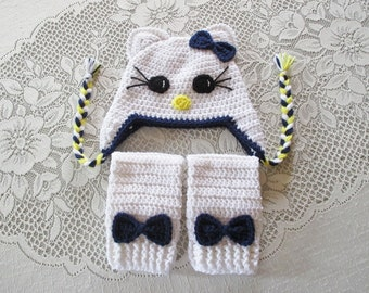 White Kitty Hat and Legwarmers - Photo Prop Set - Available in Newborn to Toddler Size - Any Color Combination