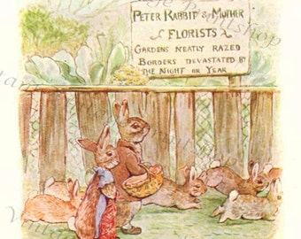 Flopsy Bunnies Instant 5x7 Digital Download 1909 Beatrix Potter Art Print