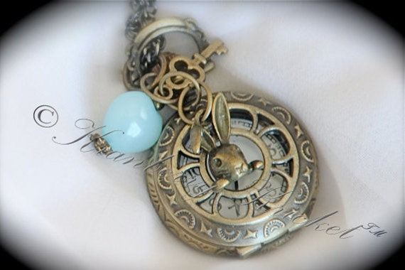 Me And Alice - Alice in Wonderland inspired mini pocket watch necklace