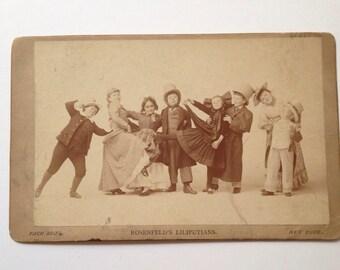 19th Century Midget Troupe Cabinet Card Circus Sideshow