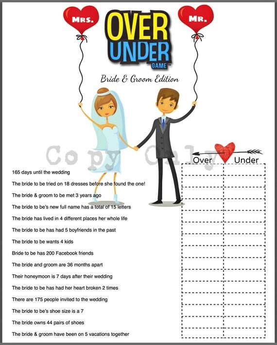 Wedding Shower Game Over Or Under Bride Trivia DIY Option