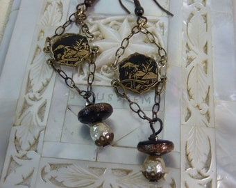 ORIENTAL NIELLO VINTAGE assemblage  earrings so antique