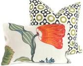 Schumacher Spark Hot House Floral Decorative Pillow Covers lumbar pillow