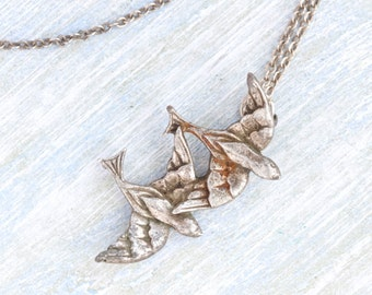 Love Birds Necklace - Flying Pewter Pendants on a Chain
