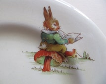 Bunny's Playtime Royal Winton porcelain china child's plate, Made in England, pattern of bunnies playing, Royal Winton china nurseryware