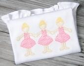 Ballerina Paper Doll Applique Design Machine Embroidery INSTANT DOWNLOAD