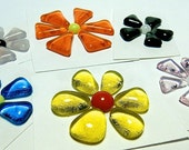 Glass Flowers For Mosaics, Jewelry, Magnets or other Embellishments 6 Flowers  (P224)