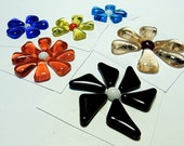 Glass Flowers For Mosaics, Jewelry, Magnets or other Embellishments 6 Flowers  (P227)