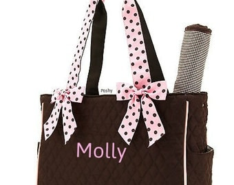 Personalized Diaper Bag in Pink and Brown Polka dots Embroidered Monogrammed 2 Piece Set