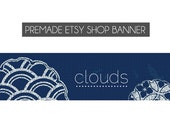 Premade Etsy Shop Banner - Clouds - Shop banner, etsy banner, etsy shop banners, blue, modern, simple, pattern