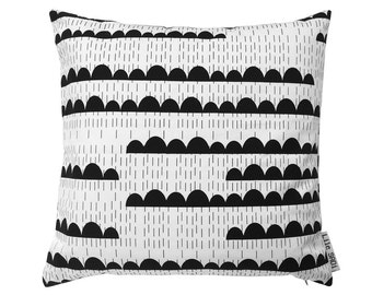 SALE. Cushion Rainy days. Minimal black and white pillow