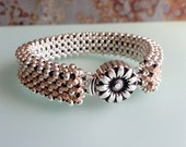 Silver Plated & Rose Cornerless Cube Beaded Tennis Bead Bracelet with Sterling Silver Sunflower Box Clasp