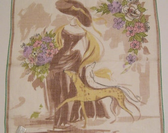 Vintage Stoffels Lady with Dogs Hankie