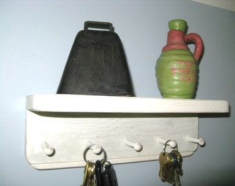 "JEWELRY RACK 12""w/5 Shaker Pegs, Key Rack, Shelf, Shaker Style, Primitive, Rustic, Cottage, Shabby, Key Hook, Key Holder, Jewelry Organizer"