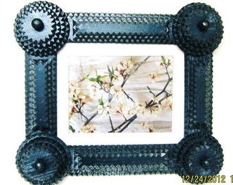 tramp art frame folk art picture frame photo frame hand made for art or mirror all reclaimed material