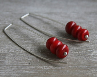 Long Red Earrings. Handmade Red Glass Beads. Stylish, simple, sophisticated