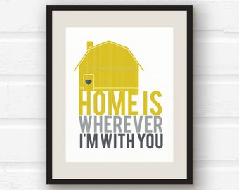 yellow grey decor home is whereve r i 39 m with you shabby chic home
