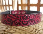 "Black and Red  Leather Dog Collar.  1"" Width. Embossed Red Gothic Floral Collar. Made to Order."