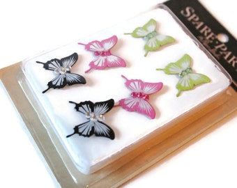 Butterfly with gems designer brads - set of 6 - Spare Parts by The Paper Studio