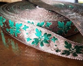 Vintage French Brocade Ribbon Trim #182-06 Metallic