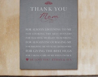Personalized Thank You Mom Wall Canvas -gfy917576X