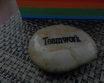 Teamwork Engraved Polished Energy River Rock