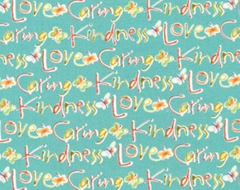 58011  Free Spirit Kathy Davis Blossoming collection KD19 Kind words in aqua color- 1 yard