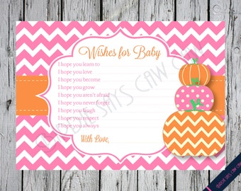 INSTANT DOWNLOAD**  Little Pumpkin Printable Baby Shower Wishes for Baby Card