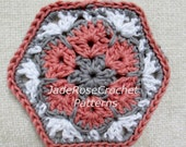 Free Crochet Hexagon Pattern, Crochet African Flower Pattern, Crochet Home Decor Pattern, Free Crochet Flower Coaster Pattern, PDF005