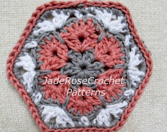 Free Crochet Hexagon Pattern, Crochet African Flower Pattern, Crochet Home Decor Pattern, Free Crochet Flower Coaster Pattern, PDF005