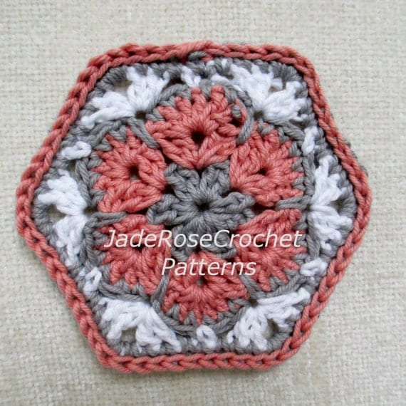 African Flower Hexagon Crochet Pattern Free : Free Crochet Hexagon Pattern Crochet African Flower Pattern