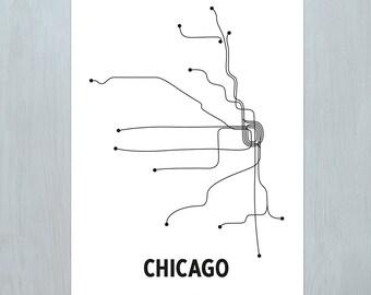 Chicago Lithograph - White/Black