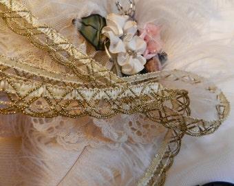 Cream - Antique Gold Gimp, Trim, Edging, Elegant & Romantic,Costumes, Jewelry Design - By the Yard