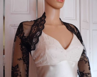 Black lace three-quarter length sleeved bolero/shrug/jacket  with lace edging, UK sizes 8, 10, 12, 14, 16