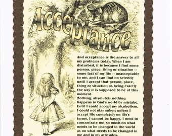 12 STEP Alice and Cheshire Cat ACCEPTANCE  Recovery Card  .