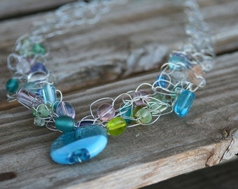 Handmade Crocheted Wire Necklace in Ocean Colors