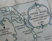 Outer Banks, North Carolina, Vintage Map Pillow, Blue Pillows, Nags Head, Ocracoke, Cape Hatteras, Beach Decor, Beach House, Ocean, Coastal