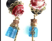 ANY SIZE - Alice in Wonderland Plugs - Wood, Brass, and Glass!