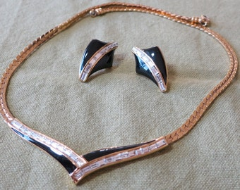 """Matching necklace, earrings.Gold tone chain  17"""" to 18"""" long, channel set rhinestones and black enamel. Matched earrings. SGS14.5-5.15-1."""