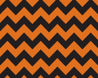 laminated cotton fabric by the yard similar to oilcloth orange black chevron - Black And Orange Halloween