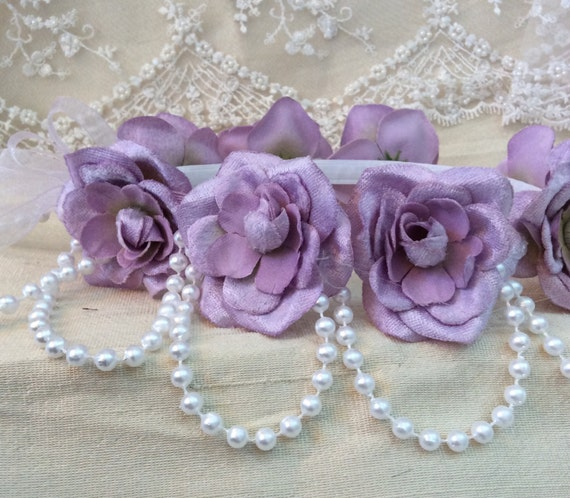 Lilac Velvet Flowers and Pearls Wedding Halo//Bridal Hair Accessories//Princess Halo//