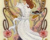 Chocolate Art Nouveau Chef Embroidered Flour Sack Hand/Dish Towel